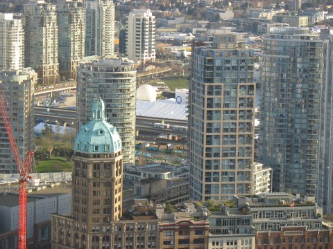 A look at downtown Vancouver near B.C. Place from the Vancouver Lookout, on Wednesday February 17.