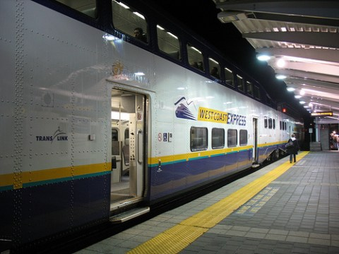 The 6 a.m. West Coast Express train parked at Mission City Station.