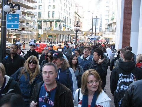 The crowds wandering by Waterfront Station at around 3 p.m. on Wednesday, February 17.