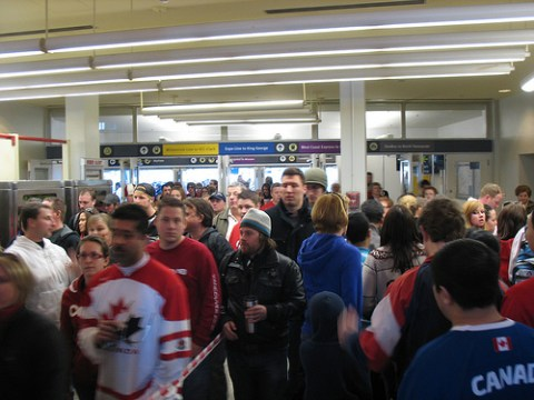 1,900 West Coast Express riders file into Waterfront station on the left: SeaBus riders flow into the SeaBus station on the right.