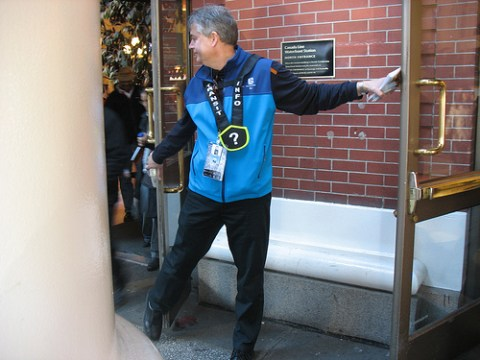 One of our transit staff did double duty while crowds flowed out :)
