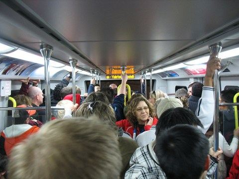 I rode from Aberdeen to Waterfront -- here was the peak crowd inside the train. So full!
