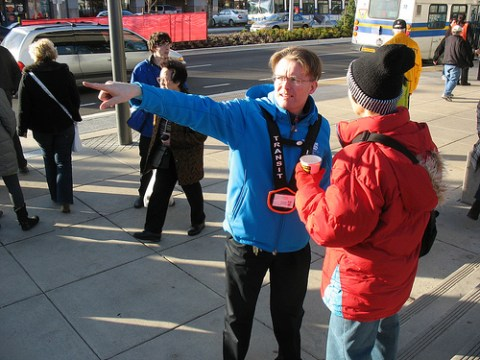 Transit host Dietmar points out the Richmond O-Zone for a customer.