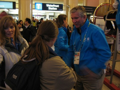 SkyTrain CEO Doug Kelsey and many members of the TransLink Olympic planning team were on hand to help with transit info and queue management.