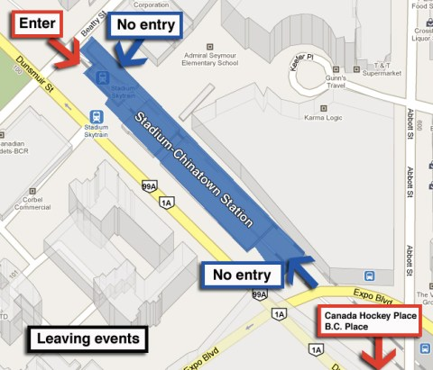 After your event, enter Stadium Station through the Beatty St entrance.