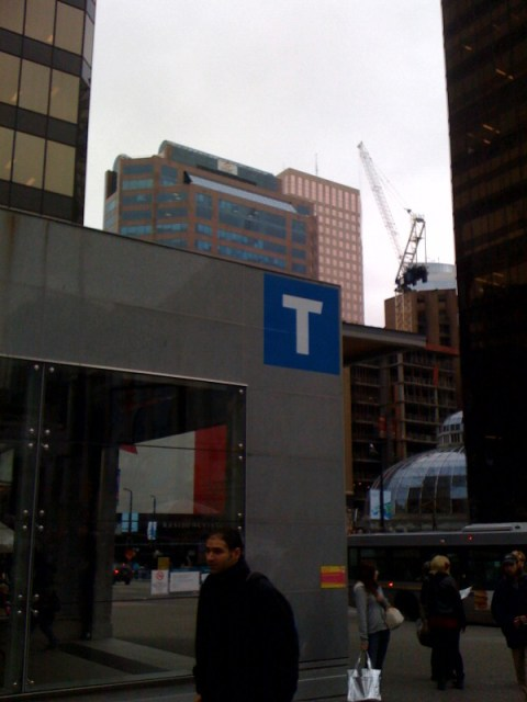 Another picture of T signage at Vancouver City Centre.