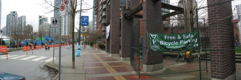 A panoramic photo showing the LiveCity Yaletown entrance on the left, and the bike valet on the right. Click for a larger version!