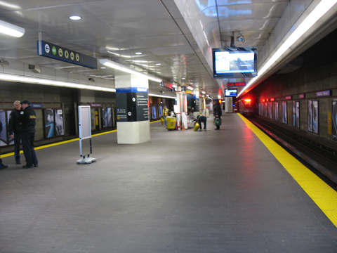Expo & Millennium Line platform at Waterfront Station, 12 p.m., Monday March 1.