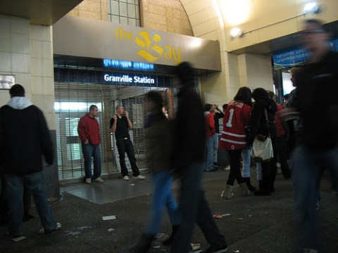Granville Station had its grille closed for queue management.