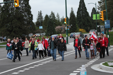 Spectators head toward King Edward Station after the gold medal wheelchair curling event!