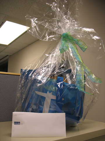 An Olympic-themed gift basket from YVR, glamourously photographed in our offices.