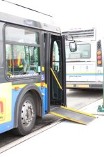 The ramp from a trolley bus on the practice curb at Vancouver Transit Centre.
