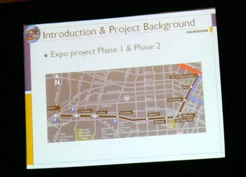 Phase 1 of the Expo Line in Los Angeles: Venice-Robertson station is on the far left.