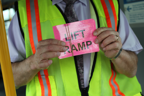 """We offer a """"Lift Ramp"""" flash card that people can show the driver if they need the ramp to be lowered."""