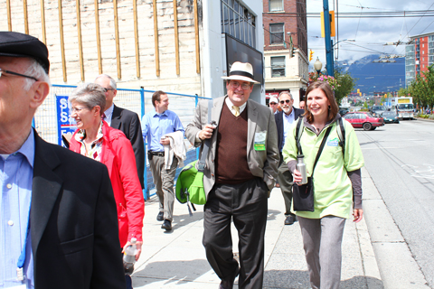Heading toward the #3 bus stop at Main Street and Broadway. That's Tom Hickey in the hat!
