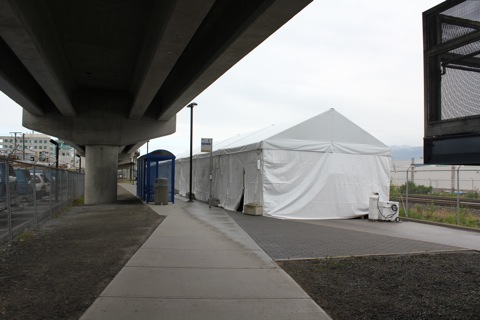 The tent housing the maintenance competition at VCC-Clark, in the spot where the 84 usually stops.