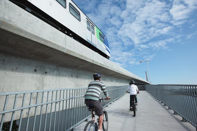 The Canada Line bike bridge is one as well!
