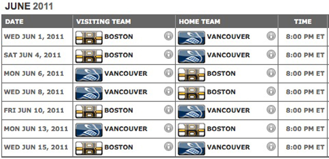 2011 NHL finals schedule
