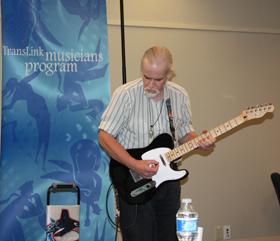 Busking guitarist