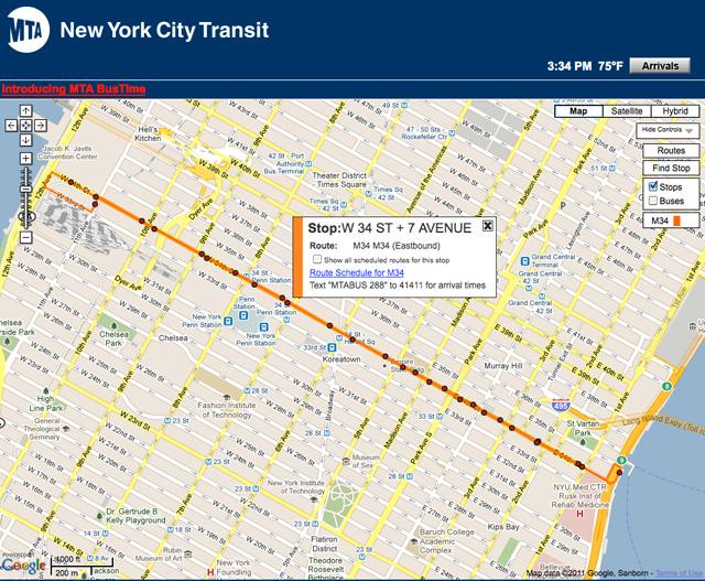 Metropolitan Transporation Authority bus stop map