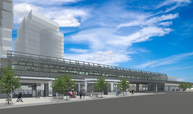 A rendering if the upgraded Main Street-Science World Station