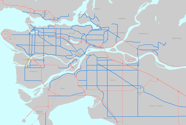 A map of the major road network! MRN is in blue and provincial roads are red.