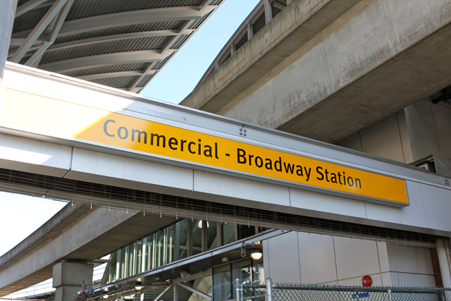 The sign at Commercial-Broadway Station