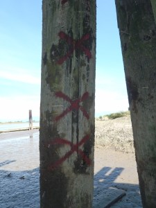 South east face pier marked for repair/replacement - image courtesy of the Ministry of Transportation and Infrastructure