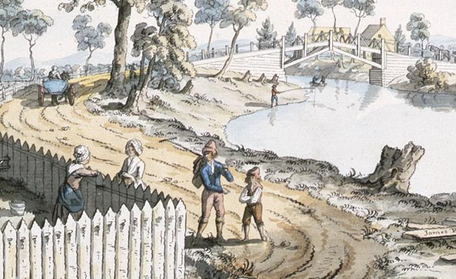 Image from public archives, A View of the Bridge over the Berthier River (detail), 1785, by James Peachey | James Peachey, Library and Archives Canada, Acc No 1970­188­1501, Collection of Canadiana, W.H. Coverdale, C­045559 http://www.civilization.ca/virtual­museum­of­new­france/daily­life/communications/