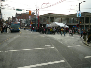 (Caption for photo: With traffic stopped for the torch Tim had an opportunity to take this picture at Pender & Carrall