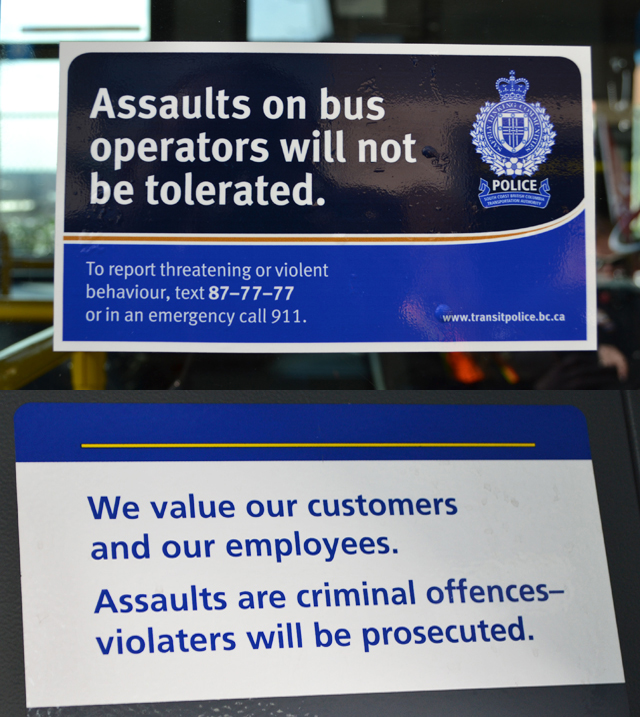 Safety decals on buses