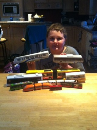 Trevor and his collection of bus models!