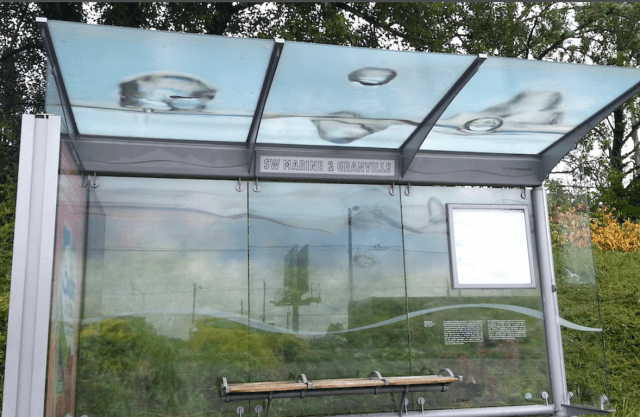 One of the seven bus shelters part of the Meniscus Series commissioned by commissioned by chART: Public Art Marpole (Photo: Emily Carr University of Art + Design)