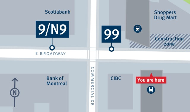 Bus stop changes at Commercial–Broadway from February 29 until summer 2016