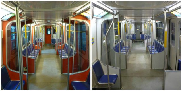 SkyTrain lighting before and after