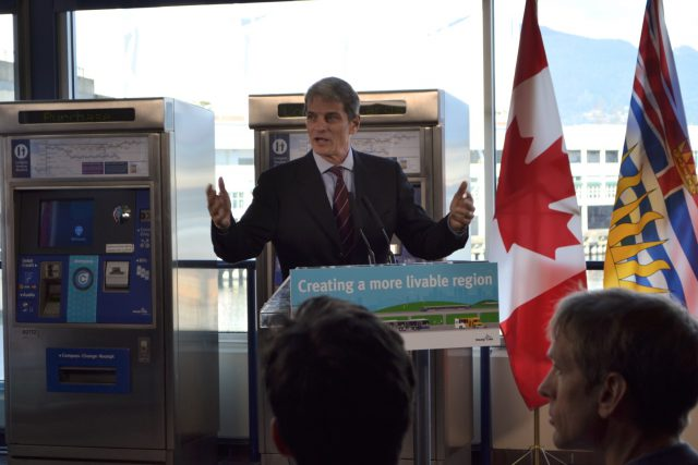 Kevin Desmond speaks at podium during 10-Year Vision funding announcement
