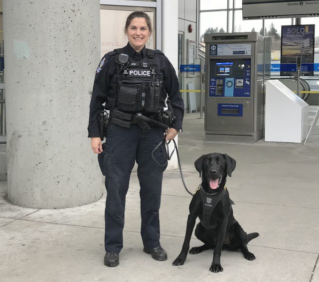 A photo of Transit Police constable Leanne Smith and police service dog Diesel