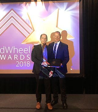 Steve Vanagas, TransLink's vice-president of customer communications and public affairs, accepted the award for TransLink at APTA's 2018 Marketing & Communications Workshop in San Francisco earlier this week with JC Vannatta, Chair, APTA Marketing & Communications Committee.