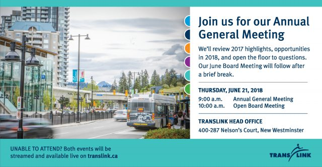 TransLink's Annual General Meeting is on June 21, 2018