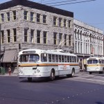 P.N.E. Parade pole pulling detour at Carrall and Cordova Streets, 1975