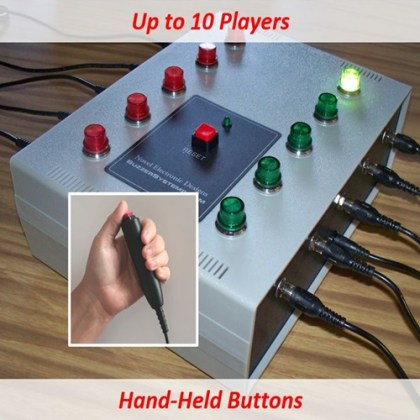 Quiz lockout system for up to 10 players. Players buzz in with hand-held buttons.