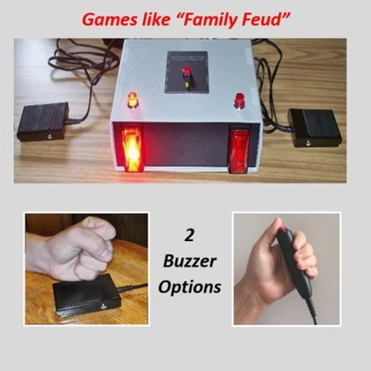 Family Feud quiz game with hand-held buttons or press pads.