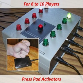 Quiz lockout system for up to 10 players. Players buzz in with slap or press pads.