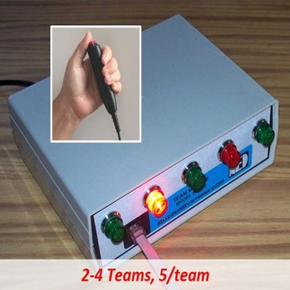 Quiz game team box uses hand-held buttons for players.