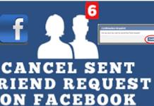 Facebook Cancel Friend Request