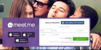 Meetme signup with Facebook