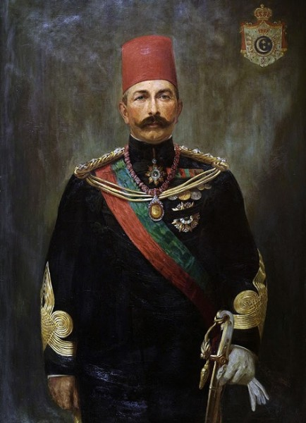 AbbasHilmi2Portrait with Khedivial Grand State Coat of Arms