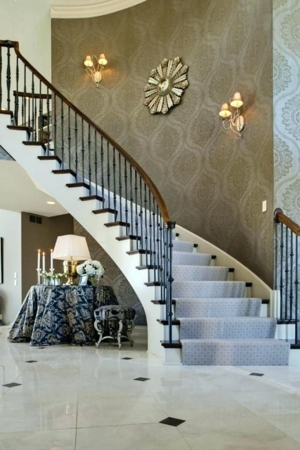 37 Stylish Stair Wall Decoration Designs And Ideas Buzz Hippy | Designs For Staircase Wall | Stairwell | Stylish | Luxury | Painting | Stone