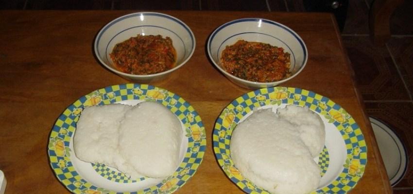 The finished tuwon shinkafa and egusi soup