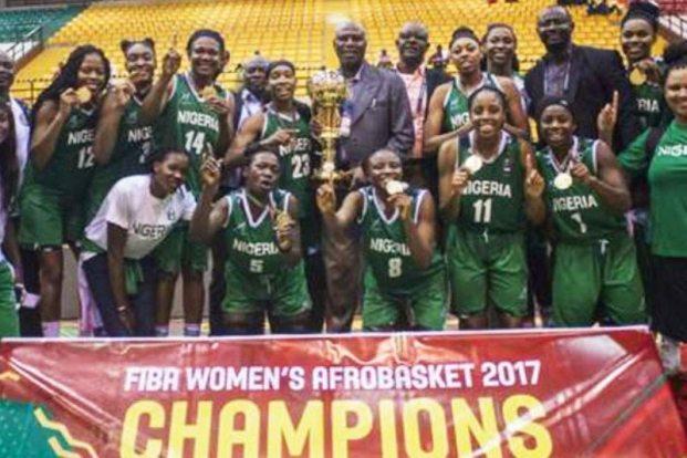 Image result for Buhari rewards 2017 Afrobasket champions, D'Tigress